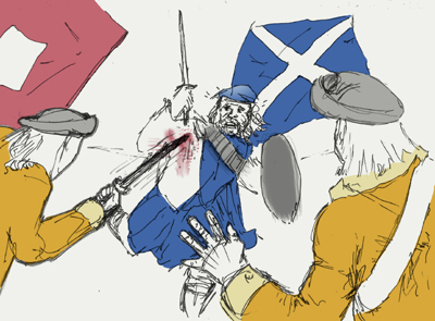 The deadly surprise as the Highland charge meets the Redcoat ranks.